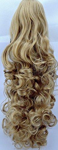 Elegant Hair - 43 cm/17 pouces queue de cheval frisé – Blond miel - Clip-in pièce de extensions de cheveux réversible - Avec griffe-clip - 30 Couleurs - 220g