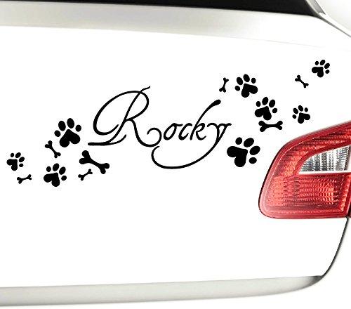Wandtattoo-Günstig X8081 Autoaufkleber Wunschname + 8 Hundepfoten & 7 Knochen weiß