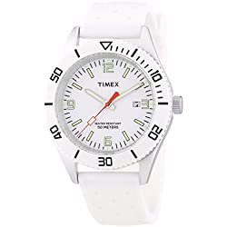 Timex Classic Men's T2N533PF Quartz Watch with White Dial Analogue Display and White Resin Strap