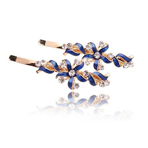 Five Season 2PCS Piques et Epingles a Cheveux Crystal Accessoires Forme Fleur Femme de Mode 6,3*2cm Bleu