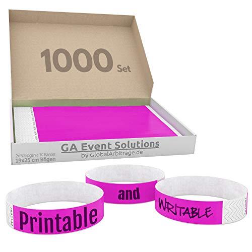 GA Event Solutions Braccialetti di identificazione Tyvek, Rosa, 1000 pezzi