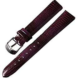14mm Ladies Purple Patent Leather Genuine Leather Watch Strap Band SS Buckle