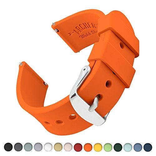 Uhrenarmband von Archer Watch Straps | Silikon Uhrenband mit Schnellverschluss für klassische Uhr und Smartwatch | Orange, 20mm