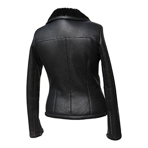 Lammfelljacke - POLA Damen Jacke Lederjacke Winterjacke Bikerjacke Merino Felljacke schwarz Size S - 3
