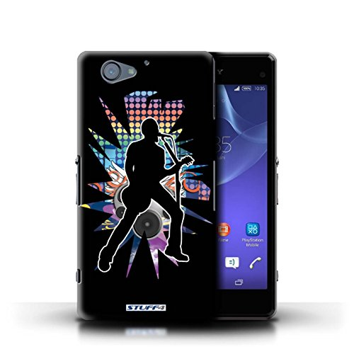 Kobalt® Imprimé Etui / Coque pour Sony Xperia A2 / Pencher Noir conception / Série Rock Star Pose Chanteur Noir