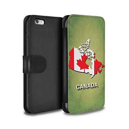 STUFF4 PU-Leder Hülle/Case/Tasche/Cover für Apple iPhone 8 Plus / Italien/Italienisch Muster / Flagge Land Kollektion Kanada/Kanadischen