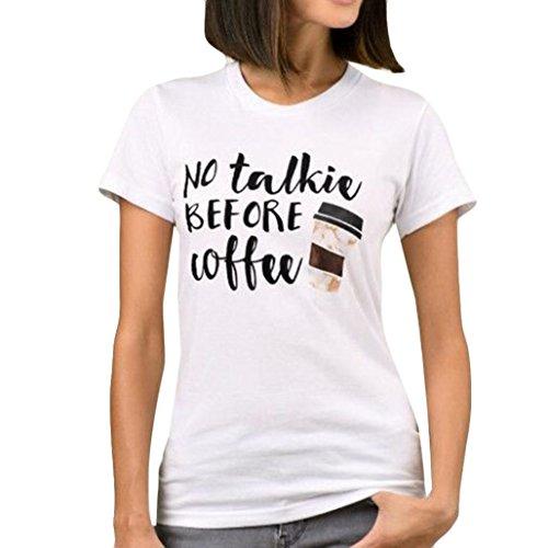 T-Shirt,Honestyi 2018 Neueste Modell Frühling-Sommer- Drucken Brief 'No talkic Coffee ' Einfache Einfarbig T-Shirt Mode O-Asschnitt Streetwear Sweatshirts Blusen (XL, Weiß)