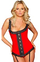 Gorgeous Pleated Rubber Look Vinyl PVC Corset in Red