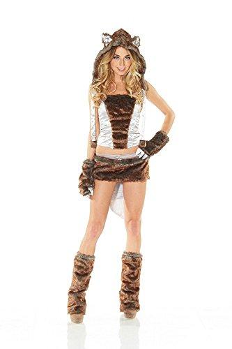 Kostüm Sexy Wolf - Fell-Kostüm Fell-Kostüm Sexy Wolf Graubraun Gr. 36/38