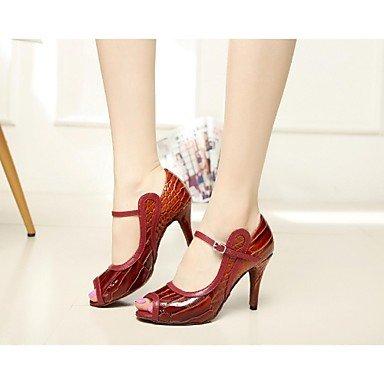 XIAMUO Nicht anpassbare Damen Tanzschuhe Latein Leder/Lack Stiletto Heel Rot Rot