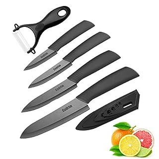 Couteau en céramique ,Cadrim Ensembles de couteaux de cuisine Couteaux chef pour Couper Fruits Légumes Viande 5pcs/Set Noir