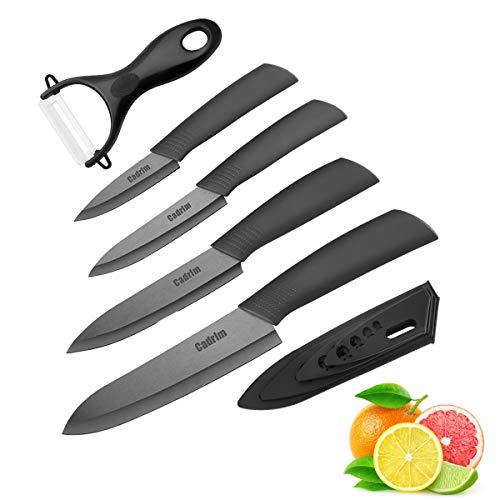 Cadrim Keramikmesser Set,Kochmesser mit Klingenschutz,Allzweckmesser und Schäler, Keramik Küchenmesser zum Schneiden Obst Gemüse Fleisch - Sets of 5,Schwarz