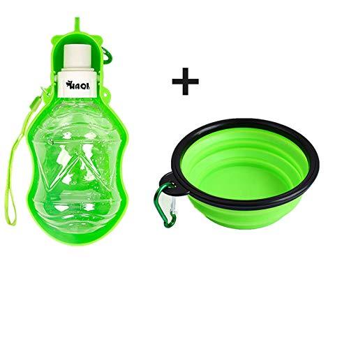 yuqin Trinkbecher für Haustiere, Trinkwasserspender für Haustiere Auslaufsicher für antibakterielle Lebensmittel Hund Katze Reise-Trinkflasche Schüssel (grün) @Green - 280 ml + Schüssel
