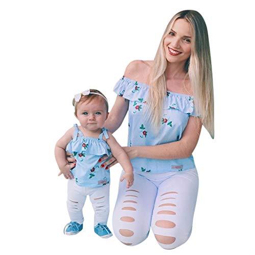 Cooljun Eltern-Kind-Sommer-ärmellose Rüschen Floral Schulterfrei Tops Solide Loch Hose Mami ich passende Kleidung (Junior Bluse Kleidung)