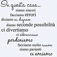 """Idea Regalo - LifeUp Disegn Originale- Adesivo Murale Frase in Italiano Soggiorno Camera da Letto """" In questa Casa"""" Adesivo da Pareti Muri"""