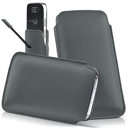 moex Emporia Flip Basic | Hülle Grau Sleeve Slide Cover Ultra-Slim Schutzhülle Dünn Handyhülle für Emporia Flip Basic Case Full Body Handytasche Kunst-Leder Tasche