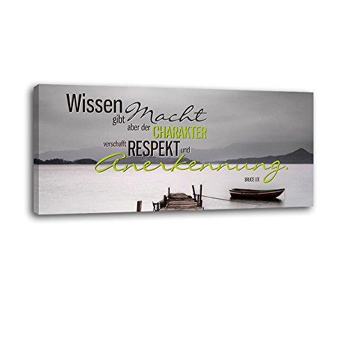 Dalinda® XXL-Wandbild Leinwandbild mit Spruch Respekt und Anerkennung... 100x40cm Keilrahmenbild Kunstdruck Wandbild Panorama Leinwandbild LS088