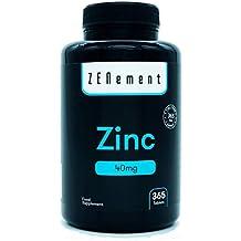 Zinc 40 mg, 365 Comprimidos | Antioxidante, ayuda al sistema inmune, piel,