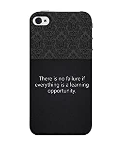 PrintVisa Designer Back Case Cover for Apple iPhone 4S (There Is No Failure Design In Black)