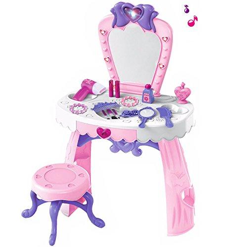 Schminktisch mit vielen Accessoires und Spiegel in rosa