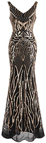 Angel-fashions Damen V-Ausschnitt rückenfrei Blumenpailletten figurbetont Abendkleid - Gold - Mittel