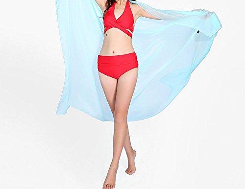 Leisial Solide Couleur Foulards de Fibres Synthétiques Été Plage Sunscreen Châle pour Femme 190cm x 140cm Bleu clair