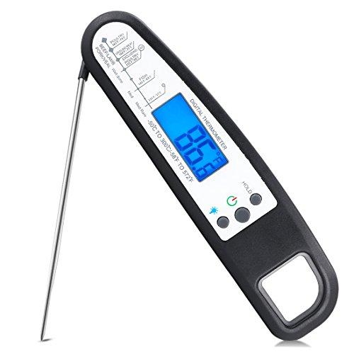 elektrisches thermometer Fleisch-Thermometer Ofenfeste elektrische Rauch-Fleisch-Thermometer Digital-Kochen-Thermometer-Probe Bbq Food-Thermometer für Zucker-Stau Wasser Grill Bier Faltbare … (schwarz)