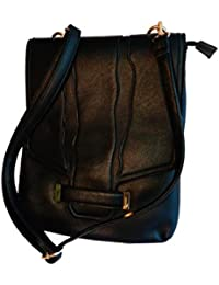 Teeguvoy Unisex Leather Sling Bag, Black