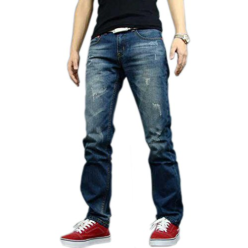 Newfacelook Hommes Jeans Mode Denim Men Ripped Pantalon Blue F005 Bleu