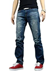 Newfacelook Hommes Jeans Mode Denim Men Ripped Pantalon Blue F005