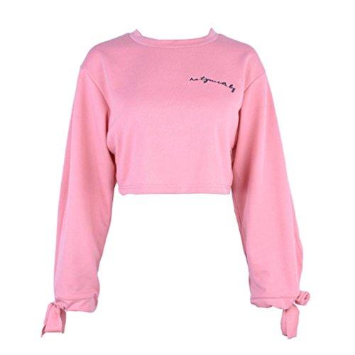 Ricamo giacca bicolore felpa camicetta sexy camicia elegante ragazza vestiti da donna alla moda (s, colore rosa)