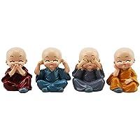 4 pièce Mignon Moine Figurines Petite Statue De Résine, Sage Kung Fu Bouddha Créatif Artisanat Ornement comme À La Maison, Bureau Voiture Affichage Intérieur Décoration Décor Poupées Jouet Cadeau