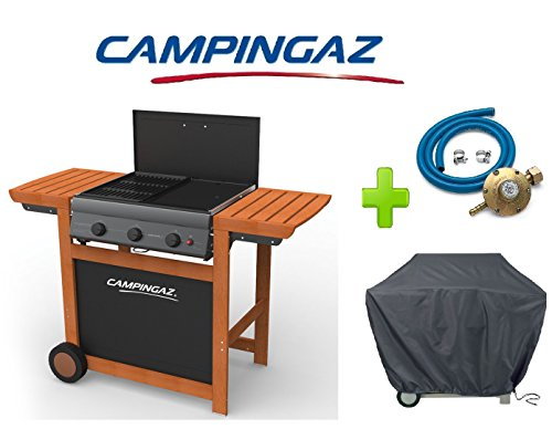 Barbecue a gas gpl adelaide woody 3 campingaz con bruciatori ghisa campingaz + kit regolatore gas + telo di copertura originale campingaz