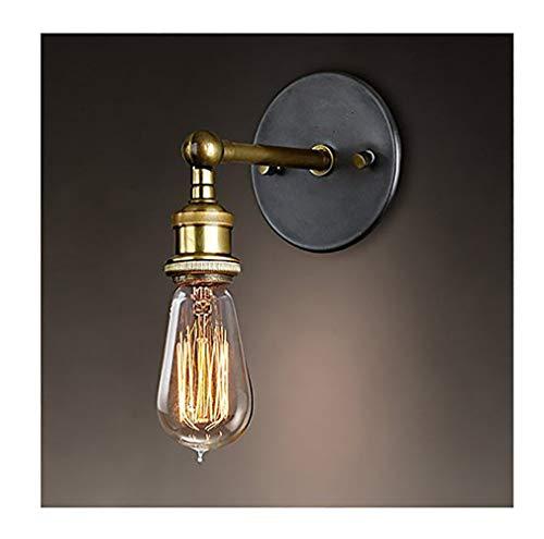 H-O Wandlampe Wandleuchte Industrie mit Einstellbar Messing-Kopf, Vintage Retro Café Loft Bar Flurlampe(Ohne Lampe) -