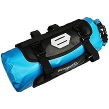 Roswheel 100% Wasserdicht Fahrradlenkertasche Einstellbarer Volumen 3L bis 7L Fahrradtasche für den Lenker Aufrollbare Öffnung Lenkertaschen Φ15 x H40cm aus Polyester mit Fahrradfrontlicht Schnittstelle