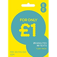 EE £1/7 days for 25 Mins, 50 Texts & 10MB data. Talk & Text pack. Multi Sim Trio simcard - Standard/Micro/Nano Size