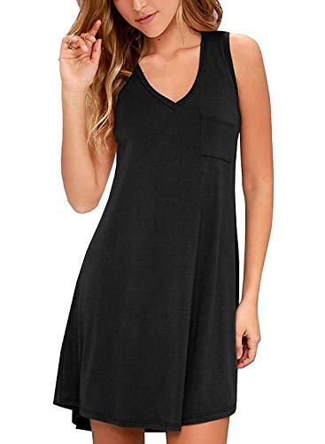 BesserBay Damen Kleid Ärmelos Sommerkleid Strandkleid Einfarbig Kleider mit Tasche Schwarz 44 XX-Large