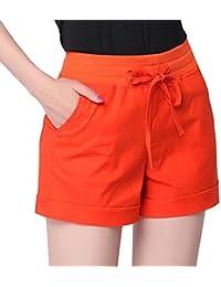 Sidiou Group Pantalon décontracté en Lin et Coton pour Femme Sports Thin  Shorts Short Taille élastique 4e524a6a5c0