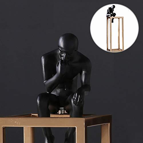 LOVEU Die Denkerstatuen, Männliche Figur Statue Meditator Skulptur Eisen Kunst Und Harz Figur Statue Dekoration Für Study Room Home Office-a 10x26cm(4x10inch)