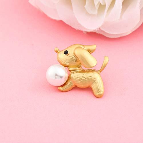 Hirsch Brosche Mode Sikawild Perle Brosche mit Schmuck Pin Pullover Mantel Schal Schnalle Kleidung, Puppy dumm Gold
