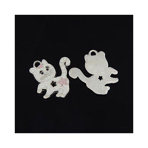 pacco-10-x-bianco-lega-dello-smalto-25mm-ciondoli-pendente-gatto