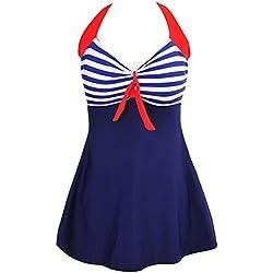 FeelinGirl vestido de una pieza talla grande con pantalones seguros para mujer azul-raya