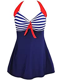 495c4c4b742 FeelinGirl Women s Retro Sailor Swimming Costume Dress Plus Size One Piece Two  Pieces with Boyshort
