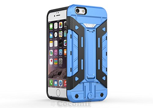 iPhone 6S / iPhone 6 Coque, Cocomii Cyborg Armor NEW [Heavy Duty] Premium Built-in Multi Card Holder Kickstand Shockproof Hard Bumper Shell [Military Defender] Full Body Dual Layer Rugged Cover Case É Blue