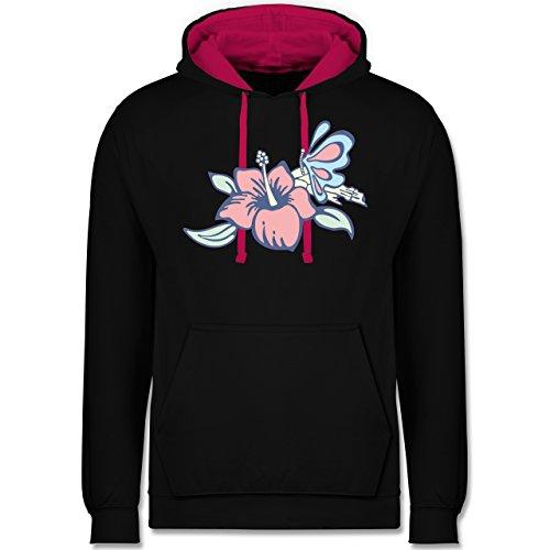 Blumen & Pflanzen - Blumen - Kontrast Hoodie Schwarz/Fuchsia