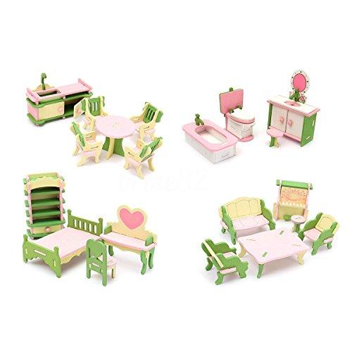 SODIAL 4 Set Legno Dollhouse Miniature Furniture Puzzle Modello Bambini Giocattoli per bambini