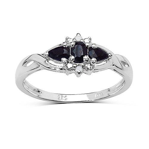 La Collection Bague Saphir : Bague argent de Saphirs, Bague de fiançailles et set des diamants authentiques, Parfait pour le Cadeau, l'Anniversaire,Taille de la bague 57