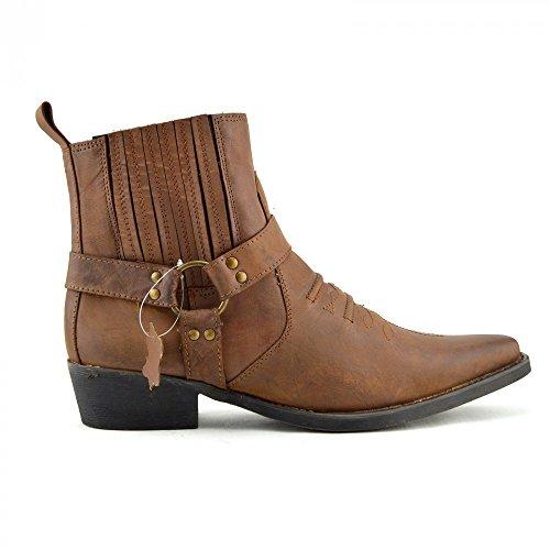 Kick Footwear - Herren Cowboy Ankle Boots Aus Leder Biker-Boots Aus Leder Toe Hellbraun