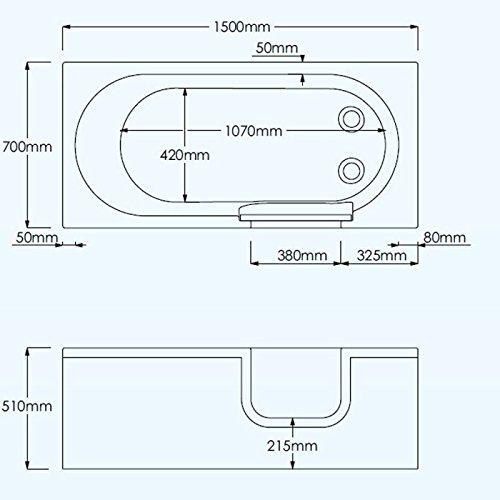 Badewanne 1500×700 mm / 150×70 cm HOCASCADE mit Tür inkl. Schürze und Ablauf