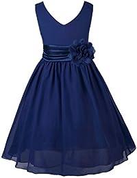 34c2deb4e50 TiaoBug Enfant Fille Robe Princesse Soirée Cérémonie Robe Demoiselle  d honneur Mariage Robe Mariee Robe